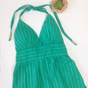 G by Guess | Green Halter Top Elastic Back Tie